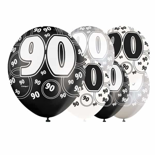 Black Glitz 90th Birthday Biodegradable Latex Balloons - 12 Inches / 30cm - Pack of 6 - Assorted Colours