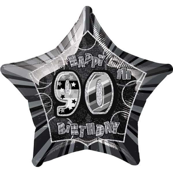 Black Glitz Age 90 Happy Birthday Prismatic Foil Helium Balloon 51cm / 20Inch