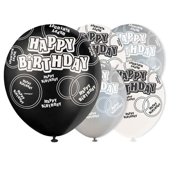 Black Glitz Happy Birthday Biodegradable Latex Balloons - 12 Inches / 30cm - Pack of 6 - Assorted Colours
