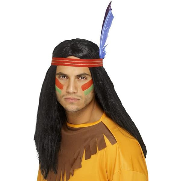 Black Indian Brave Mens Long Wig