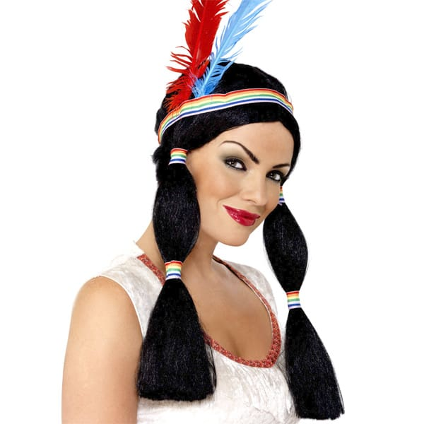 Black Indian Squaw Ladies Long Wig