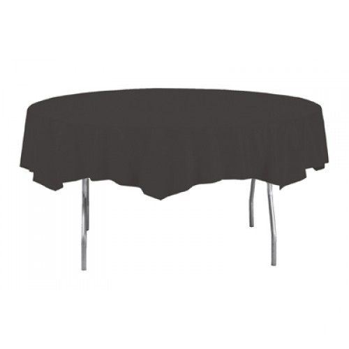 Black Round Plastic Tablecover 213cm Product Image