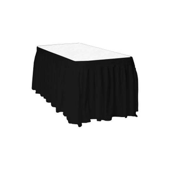 Black Plastic Table Skirt - 426cm x 74cm