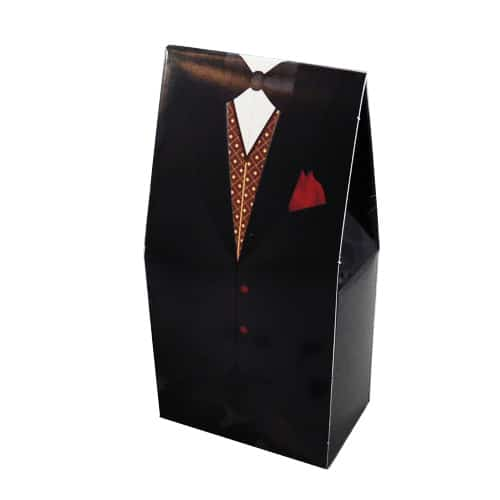 Black Tuxedo Box with Red Handkerchief Product Image