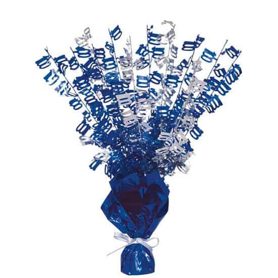 Blue Glitz 100th Birthday Balloon Weight Centrepiece