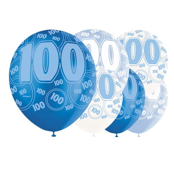 Blue Glitz 100th Birthday Biodegradable Latex Balloons - 12 Inches / 30cm - Pack of 6 - Assorted Colours