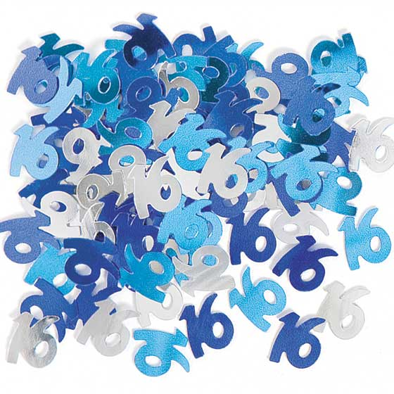 Blue Glitz 16th Birthday Table Confetti - 14 Grams