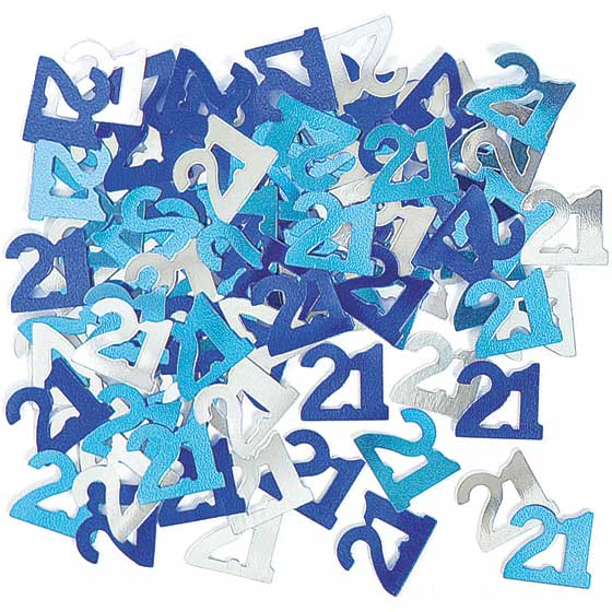 Blue Glitz 21st Birthday Table Confetti - 14 Grams