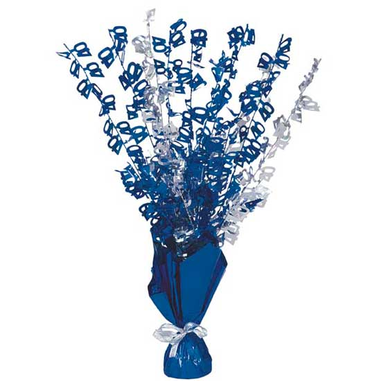 Blue Glitz 40th Birthday Balloon Weight Centrepiece Product Image