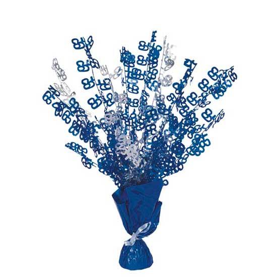 Blue Glitz 65th Birthday Balloon Weight Centrepiece Product Image