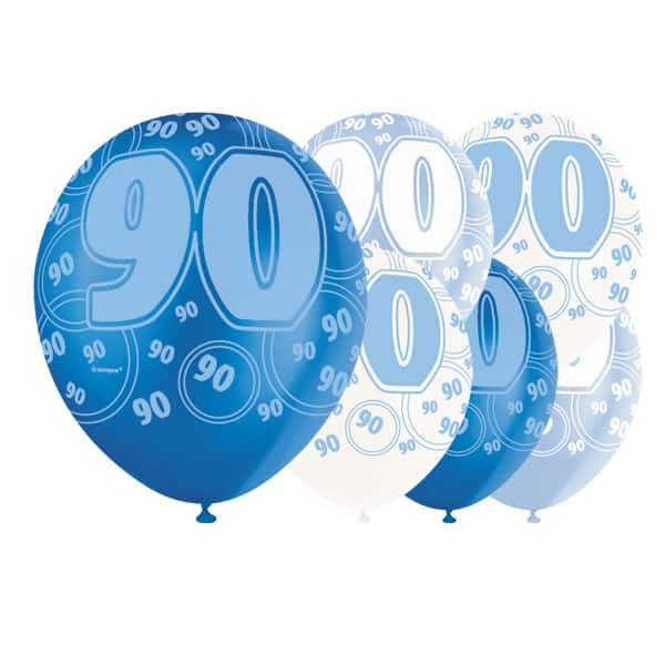 Blue Glitz 90th Birthday Biodegradable Latex Balloons - 12 Inches / 30cm - Pack of 6 - Assorted Colours