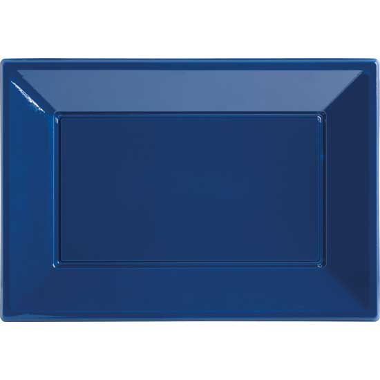 Blue Rectangular Plastic Serving Tray - 9 x 13 Inches / 23 x 33cm - Pack of 3