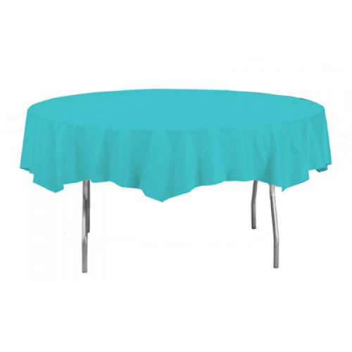 Caribbean Teal Round Plastic Tablecover 213cm Product Image