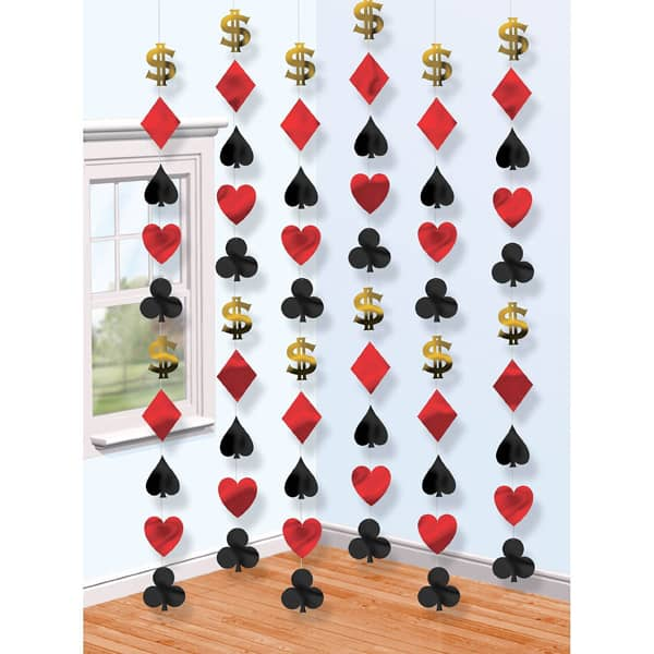 Casino String Decoration - 7 Ft / 213cm - Pack of 6