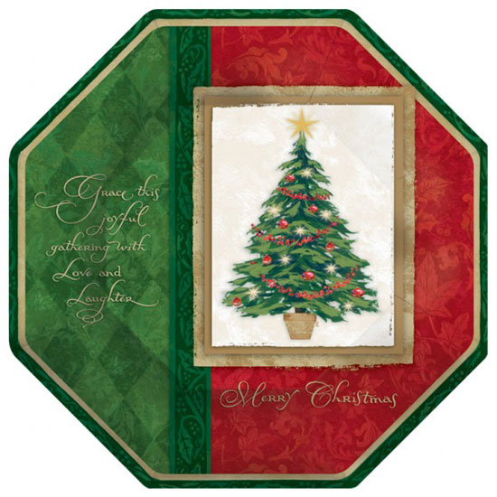 Christmas Joyful Gatherings Octagonal Paper Plate - 10 Inches / 25cm
