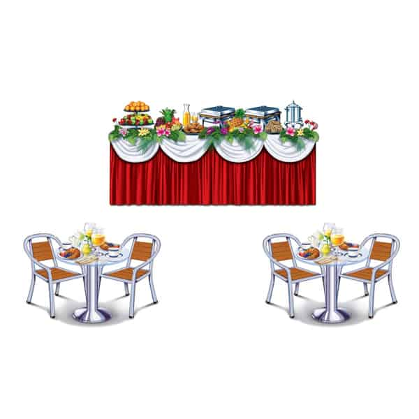 Cruise Ship Buffet Backdrop Scene Setter Add-Ons - Pack of 3