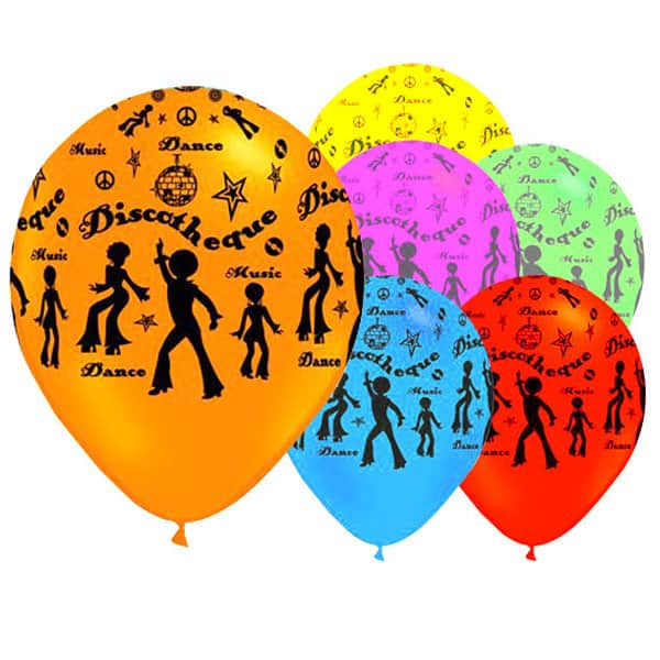 Disco Party Latex Balloons - 12 Inches / 30cm - Pack of 6