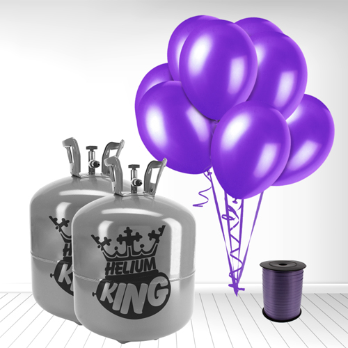 Disposable Helium Gas Cylinder with 100 Deep Purple Balloons and Curling Ribbon Product Image