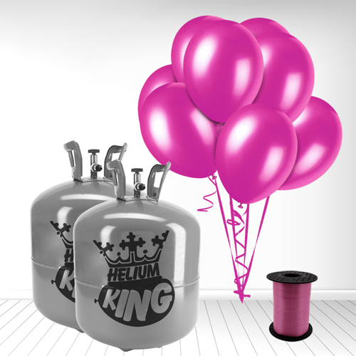 Disposable Helium Gas Cylinder with 100 Fuschia Balloons and Curling Ribbon Product Image