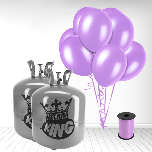 Disposable Helium Gas Cylinder with 100 Lavender Balloons and Curling Ribbon Product Image