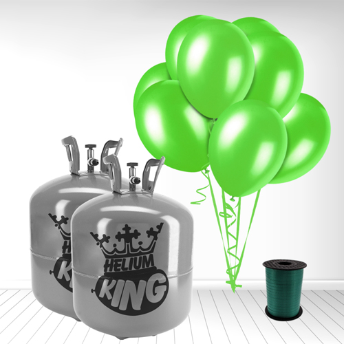 Disposable Helium Gas Cylinder with 100 Lime Green Balloons and Curling Ribbon Product Image