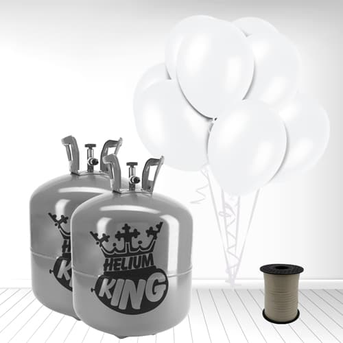 Disposable Helium Gas Cylinder with 100 Snow White Balloons and Curling Ribbon Product Image