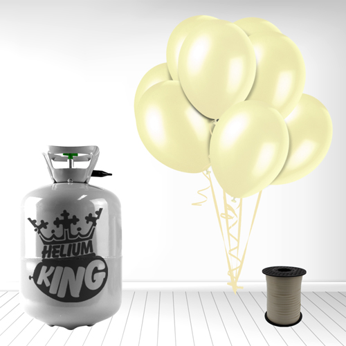Disposable Helium Gas Cylinder with 30 Ivory Balloons and Curling Ribbon