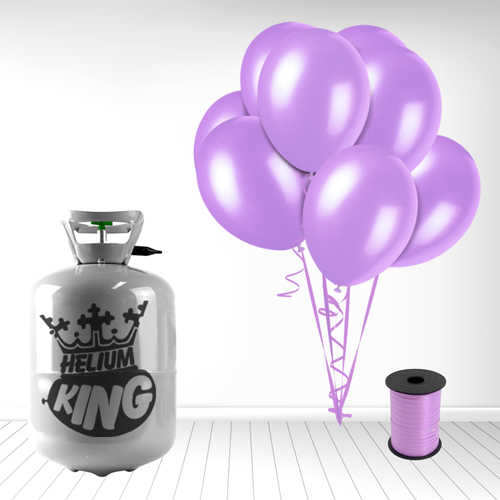Disposable Helium Gas Cylinder with 30 Lavender Balloons and Curling Ribbon Product Image