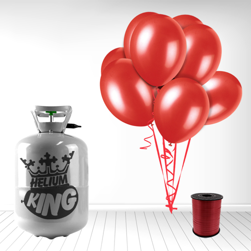 Disposable Helium Gas Cylinder with 30 Ruby Red Balloons and Curling Ribbon Product Image