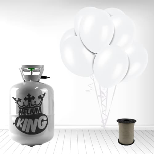 Disposable Helium Gas Cylinder with 30 Snow White Balloons and Curling Ribbon Product Image