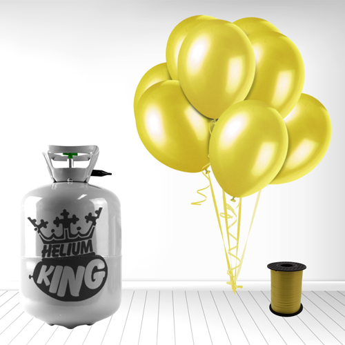 Disposable Helium Gas Cylinder with 30 Yellow Balloons and Curling Ribbon Product Image