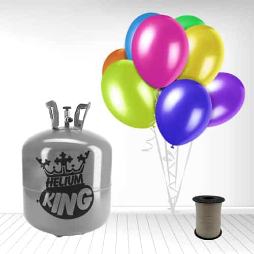 Disposable Helium Gas Cylinder with 50 Assorted Balloons and Curling Ribbon Product Image