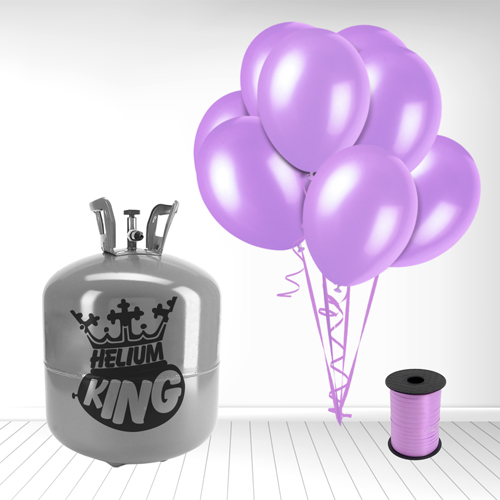 Disposable Helium Gas Cylinder with 50 Lavender Balloons and Curling Ribbon Product Image