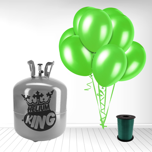 Disposable Helium Gas Cylinder with 50 Lime Green Balloons and Curling Ribbon Product Image