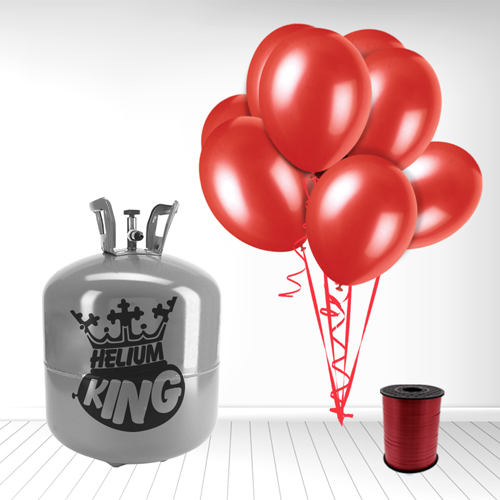 Disposable Helium Gas Cylinder with 50 Ruby Red Balloons and Curling Ribbon Product Image