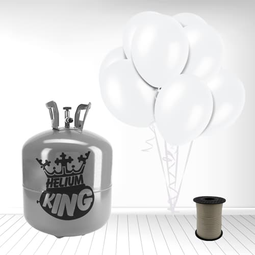 Disposable Helium Gas Cylinder with 50 Snow White Balloons and Curling Ribbon Product Image