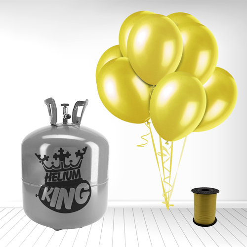 Disposable Helium Gas Cylinder with 50 Yellow Balloons and Curling Ribbon Product Image