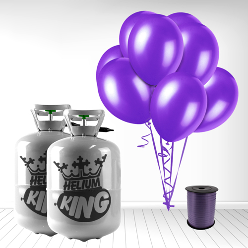 Disposable Helium Gas Cylinder with 60 Deep Purple Balloons and Curling Ribbon Product Image