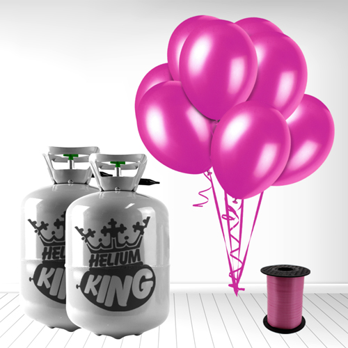 Disposable Helium Gas Cylinder with 60 Fuschia Balloons and Curling Ribbon Product Image