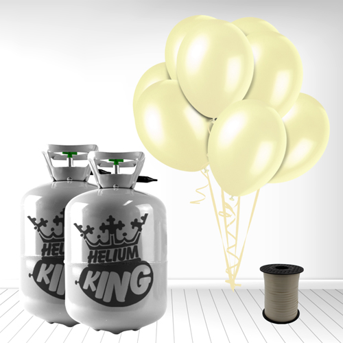 Disposable Helium Gas Cylinder with 60 Ivory Balloons and Curling Ribbon