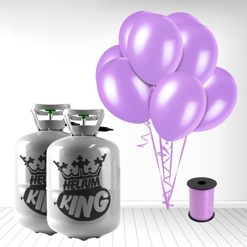 Disposable Helium Gas Cylinder with 60 Lavender Balloons and Curling Ribbon included Product Image