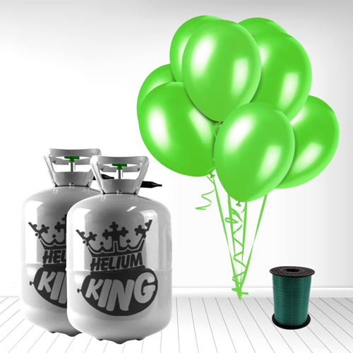 Disposable Helium Gas Cylinder with 60 Lime Green Balloons and Curling Ribbon Product Image