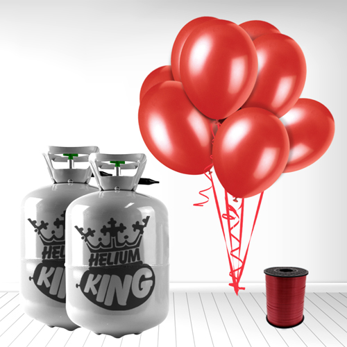 Disposable Helium Gas Cylinder with 60 Ruby Red Balloons and Curling Ribbon Product Image