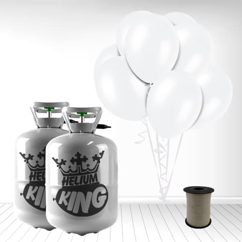 Disposable Helium Gas Cylinder with 60 Snow White Balloons and Curling Ribbon Product Image