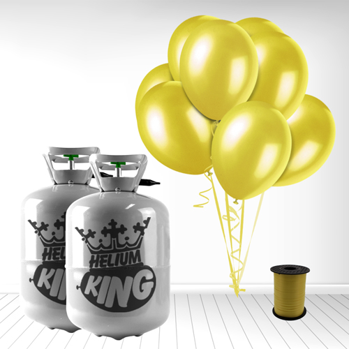 Disposable Helium Gas Cylinder with 60 Yellow Balloons and Curling Ribbon Product Image