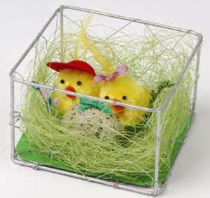 Easter Mother and Father Chick in Nest with Egg