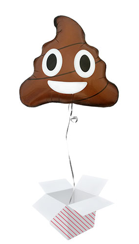 Emoticon Poop Shape Helium Foil Balloon - Inflated Balloon in a Box Product Image