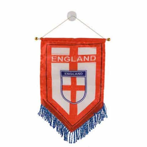 England Large Printed Satin Red Pennant - 12 x 10 Inches / 30 x 25cm