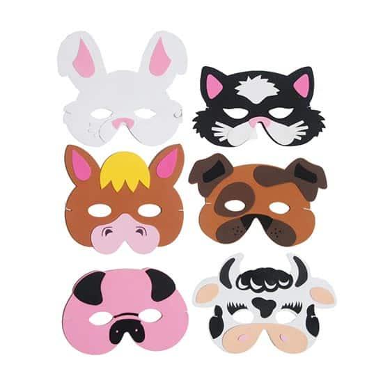 Assorted Farm Animals Foam Masks - Pack of 6