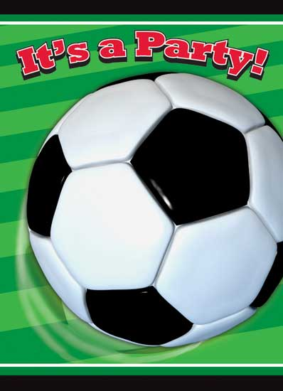 Football Party Invitation Cards with Envelopes - Pack of 8